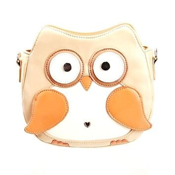 Owl Shaped Animal Bird Themed Cross body Shoulder Bag for Women in Cream