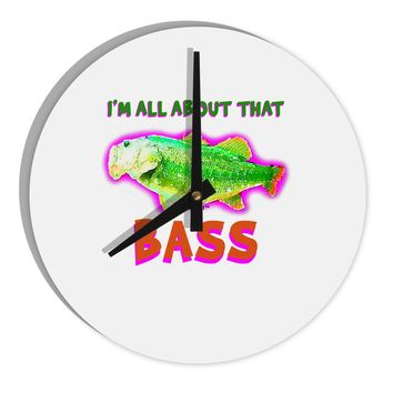 """All About That Bass Fish Watercolor 8"""" Round Wall Clock"""