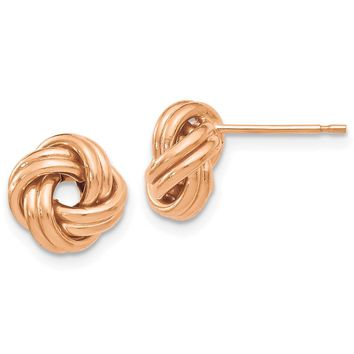 9.5mm (3/8 Inch) 14k Rose Gold Polished Love Knot Post Earrings