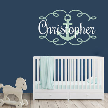 Nautical Nursery Vinyl Wall Decal Name Sign, Kids Name Wall Sticker, Custom Vinyl Lettering Nursery Above Crib Sign, Anchor Nautical Decor