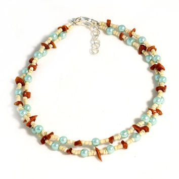 Boho Beach Jewelry Anklet in Cream Brown and Baby Blue