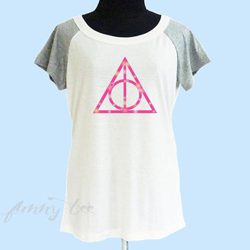 Pink triangle Deathly Hallows t shirt wide neck tee** off white grey women t shirt size S M L XL **quote shirt **cute tshirts