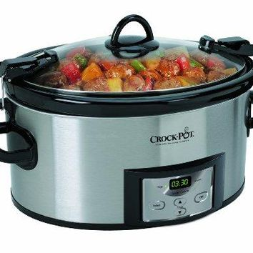 Cook & Carry Slow Cooker Crock Pot Quart Programmable with Digital Timer Stainless Steel