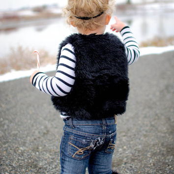Toddler Vest , Jet Black Faux Fur Toddler Vest-Luna