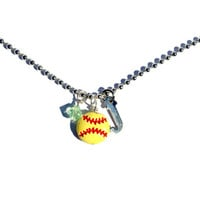 Softball Charm Necklace - Personalized Necklace - Birthstone Necklace - Sports Jewelry - Initial/Letter Necklace
