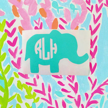 Elephant Monogram Decal - Elephant Decal - Monogram Decal - Preppy Decal - Animal Decal - Laptop Decal - Car Decal - iPad Decal