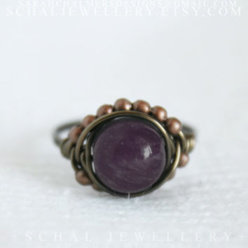 Amethyst Boho Ring, wire wrapped ring, boho jewelry, handmade jewelry, unique ring, statement ring, rustic ring