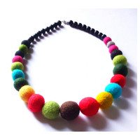 Colorful felted necklace balls light red turquoise yellow green brown black for a girl beads merino wool gift for a girlfriend
