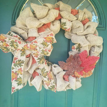 Large Fall Burlap Leaves Wreath, Thanksgiving, Fall, Bow, Orange, Green, Red