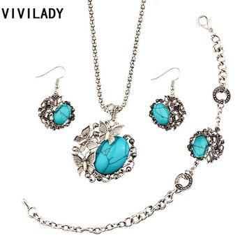 VIVILADY Lovely Three Butterfly Jewelry Sets Women Vintage Silver Plated Imitation Turquoise Stone Chain Necklaces Bridal Bijoux