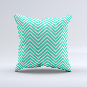 Sharp Chevron White and Mint Green  Ink-Fuzed Decorative Throw Pillow