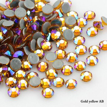 Crystals Stones Iron on FlatBack Gold yellow AB Hot Fix Strass Crystal Hotfix Rhinestones for Clothes