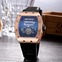 Richard miller RM052 Trendy men's and women's stylish exquisite fashion watch F-PS-XSDZBSH Black wristband + gold case
