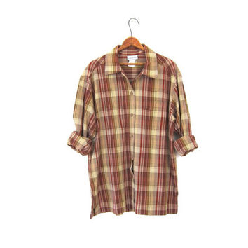 Brown Plaid Button Up Janzen Shirt 90s Oversized Red Yellow Grunge Top Long Sleeve Boho Tomboy Oversize Preppy Hunting Shirt Medium Large