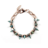 Future Perfect Double Row Spike Bracelet - Rose Gold/Blue Spikes