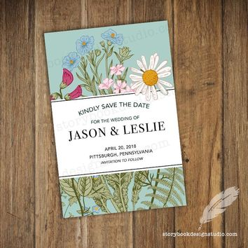 Blue Wildflower Wedding Save the Dates