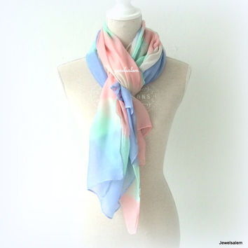 Ombre Scarf Pink Blue Mint Green Lilac Rainbow Scarf Lightweight Modern Long Scarf Pastel Statement Spring Summer Autumn Fall