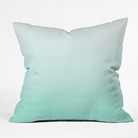 Social Proper Mint Ombre Throw Pillow