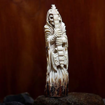 "Hand Carved Grim Reaper 5"" Natural Deer Antler Carving Knife Handle Statue HT64"