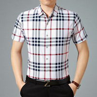 Summer Stylish Plaid Shirt Men Short Sleeve Blouse [6544596099]