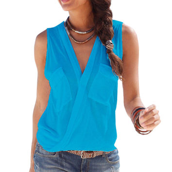 Sexy Sleeveless Tops Cross Deep V Neck Summer Blouse Hollow Out Stitching Sleeveless