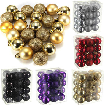 Sale New Arrivals 24 Pcs/Set Glitter Chic Christmas Baubles Ornament Ball Party Home Garden Decor