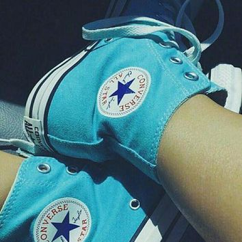 LMFUG7 Converse All Star Sneakers Adult Leisure High-Top Leisure shoes light blue