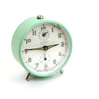 Vintage Seafoam Blue Alarm Clock / Vintage German Alarm Clock by Peter 1950s-60s