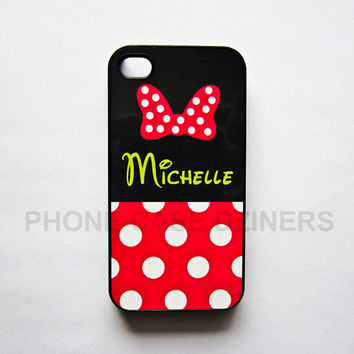 iPhone 4s case iPhone 4 case iPhone 5 case Iphone 5s case minnie mouse (YOUR NAME)