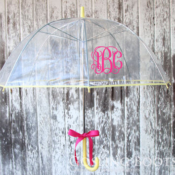 Custom Monogrammed Yellow Bubble Umbrella