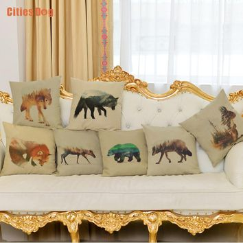 Animal Pillow Cushion Polyester / Cotton Fox wolf deer Christmas gifts wedding decoration supplies car Pillows Cushions