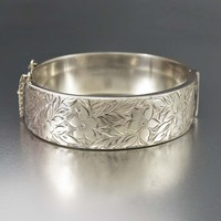 English Forget Me Not Engraved Silver Cuff Bangle