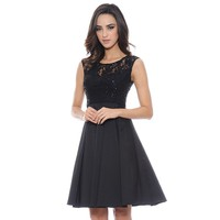 1 by 8 Mixed-Media Fit & Flare Dress