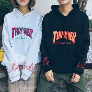 DCCK8H2 Men/Women sportswear Thrasher hoodie flame skateboard dead fly west hip-hop harajuku hooded fleece Thrasher THRASHER sweatshirt I