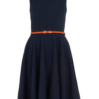 Navy linen belted dress - Day Dresses - Dresses - Dorothy Perkins