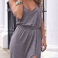 Grey High Waist Twisted T-Back Cotton Slit Dress