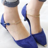 Spring Collection: Blue Suede Pointy Mid-Heeled Pumps from AlisonSman