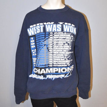 "Vintage 1996 Carolina Panthers NFL Sweatshirt ""How the West Was Won"" Champions NFC West Starter Sweatshirt Crewneck Size Large Men's"