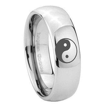 8MM Classic Mirror Dome Yin Yang Tungsten Carbide Silver Engraved Ring