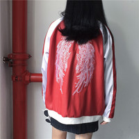 Women's Fall Casual Long Baseball Bomber Zip Jacket Coats Embroidered Angle Wings