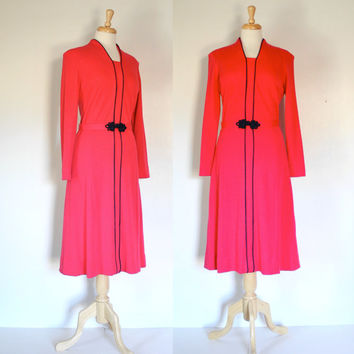 Vintage Red Wool Knit Tailored Dress