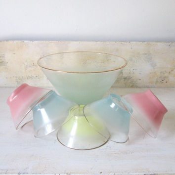 Vintage Glass Serving Bowl Set Frosted Yellow Blue Pink Pastel Glass Bowl Set West Virgina Blendo Salad Fruit Dessert Glass Bowl Set