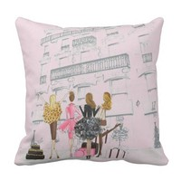 Paris fashion Girls Throw Pillow