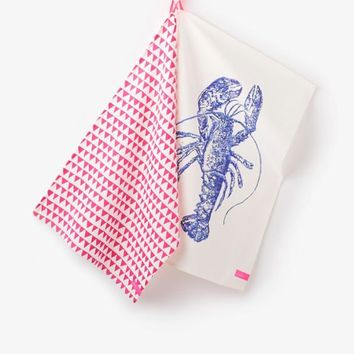 Cream Lobster Thea Two pack Tea Towels , Size One Size | Joules UK
