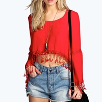 Yazzmin Crochet Tassel Trim Crop Blouse