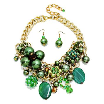 Chunky Chain Green Pearl, Crystal, and Bead Charm Necklace Set