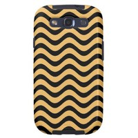 Beeswax Color And Black Waves Patterns Samsung Galaxy SIII Cases from Zazzle.com
