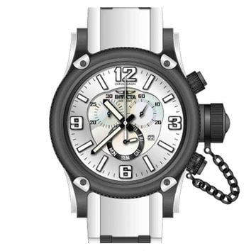 Invicta 11366 Men's Russian Diver Chronograph Silver Tone Dial White Rubber Strap Black Plated Stainless Steel Dive Watch