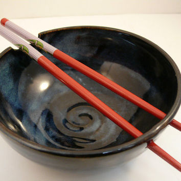 Rice Bowl ready to ship Handmade Pottery by BlueSkyPotteryCO