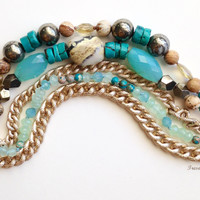 Gold Chain Bracelet with Hand-Knotted Gemstones, Four Strand, Gold Filled Beads, Faceted Citrine, Ocean Colors, Resort Wear